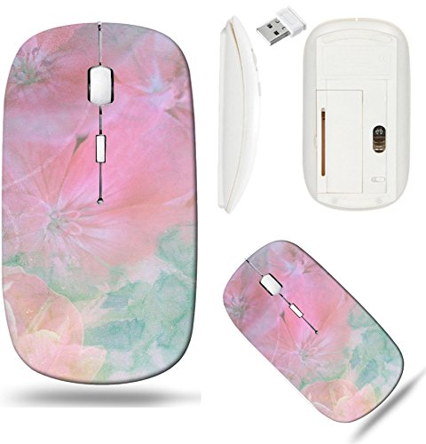 Liili Wireless Mouse White Base Travel 2.4G Wireless Mice with USB Receiver, Click with 1000 DPI for notebook, pc, laptop, computer, mac book IMAGE ID: 970002 Feminine blend with pink flowers with gre