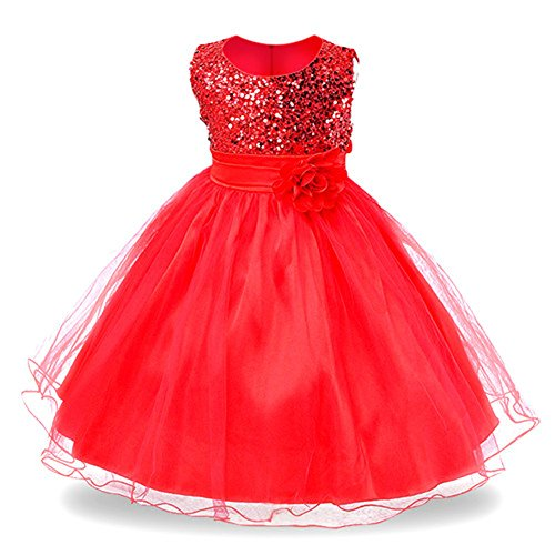 IIYoYo 2018 Christmas Gorgeous Wedding Bridesmaid Flower Girl Tulle Lace Dress Formal Occasion Pleated Ball Gown (Red, (Gorgeous Formal Dresses)