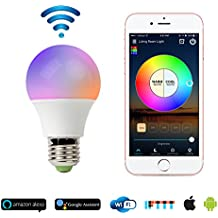 RGB LED Smart Bulb,WiFi Light Bulb,Multicolor,Dimmable,No Hub Required, 45W Equivalent, Works with Amazon Echo Alexa and Google Home Assistant,CE/FCC/UL Listed (1-pack-4.5W)