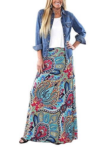 Rainlover Women's Bohemian Floral Print Long Maxi Skirt(X-Large,Flower 1)