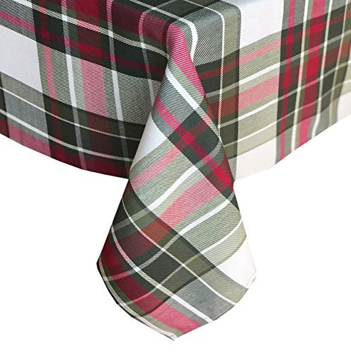 Newbridge Highland Christmas Plaid Fabric Tablecloth, 100% Cotton Weave Tartan Plaid Holiday Tablecloth, 60 Inch x 84 Inch Oblong/Rectangle]()