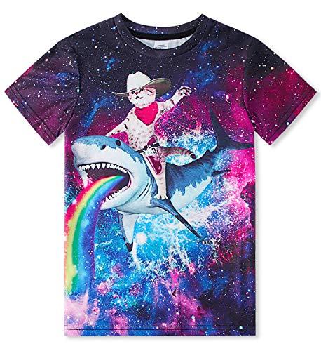 TUONROAD Boys T Shirt 3D Animal Print Kids Girls T-Shirts Short Sleeve Summer Casual Tops Tee 6-14 Years