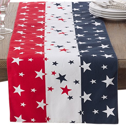 (Fennco Styles 4th of July Star Spangled Cotton Table Runner - 16