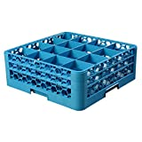 OptiClean 16 Compartment Glass Rack with 2 Extenders [Set of 3] Color: Blue