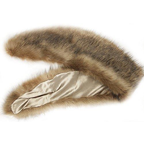 Review Dikoaina Extra Large Women's Faux Fur Collar for Winter Coat (120cm, Deep Khaki)