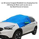 IZTOSS Car Windshield Snow Cover Sun Shade Protector-Winter Snow,Ice,Rain,Dust Frost Guard and Windproof blue