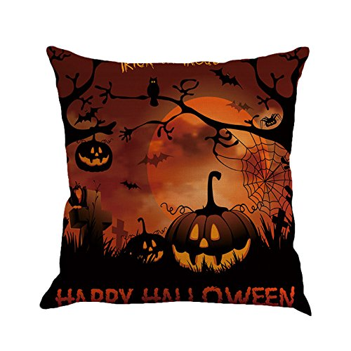 GREFER Pillow Cases Linen Sofa Cushion Cover Home Decor Happy Halloween (F)