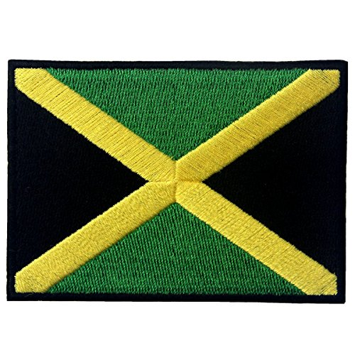 Jamaica Flag Embroidered Emblem Rasta Jamaican Rastafarian National Iron On Sew On Patch ()