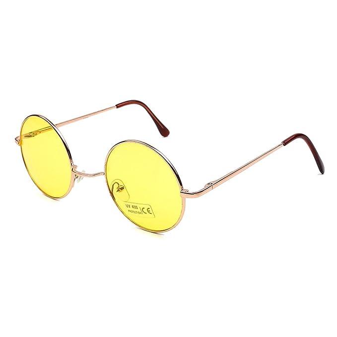 Yuandongxing Retro Gafas de sol Redondas Pequeñas Hombres ...