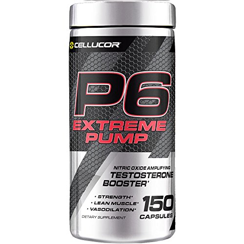 Pump Amplifier Muscle (Cellucor P6 Extreme Pump Testosterone Booster for Men, Nitric Oxide Pump Amplifier, Build Strength & Lean Muscle, Boost Vasodilation & Energy, 150 Capsules)