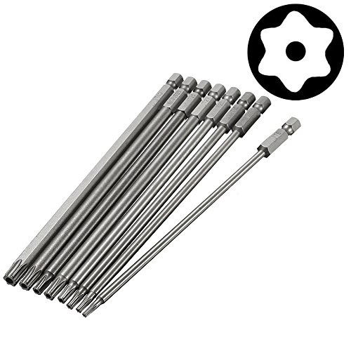 Yakamoz 8pcs 1/4 Inch Hex Shank T8-T40 Magnetic Torx Head Screw Driver Bit Set Security Tamper Proof Star 6 Point Screwdriver Kit Tools | 150mm ()