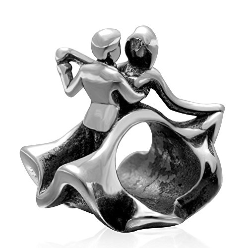 Love Couple Charm 925 Sterling Silver Evening Party Dancing Bead Charm for Charms Bracelet