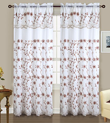 (RT Designers Collection Easton Embroidered 54 x 84 in. Rod Pocket Curtain Panel w/ Attached 18 in. Valance, Gold)