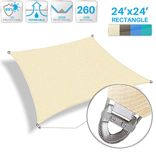 (Patio Large Sun Shade Sail 24' x 24' Rectangle Heavy Duty Strengthen Durable Outdoor Canopy UV Block Fabric A-Ring Design Metal Spring Reinforcement 7 Year Warranty -Beige)
