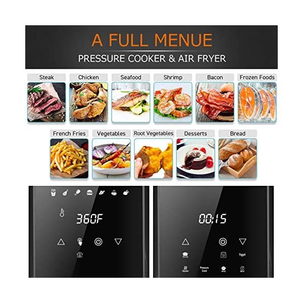 6Qt Pressure Cooker & Air Fryer Combos - Steamer Cooker, All-in-One Multi-Cooker with Pressure & Crisping Lid, LED… 2