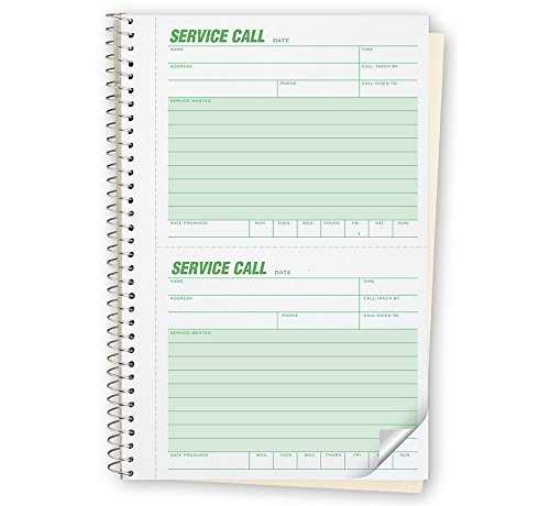 ABC Service Call Log Book, Carbon Duplicate, 5 5/8 x 8 1/2'' - Package of 3 by Abc Check Printing