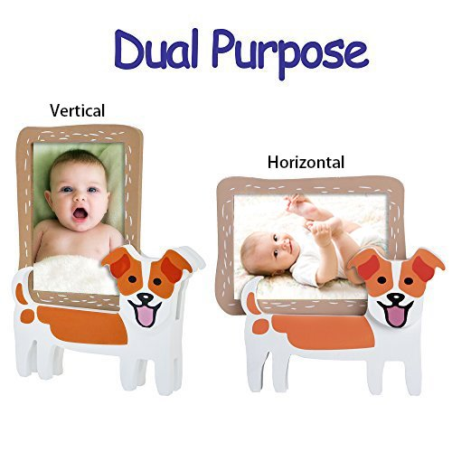 V&M VALERY MADELYN Baby Picture Frame Natural Wood 3 x 5 Picture Frames with Doggie Stands(Jack Russell Terrier) by V&M VALERY MADELYN