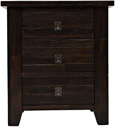 Jofran , Kona Grove, 3 Drawer Nightstand, 25 W X 18 D X 28 H, Deep Chocolate Finish, Set of 1