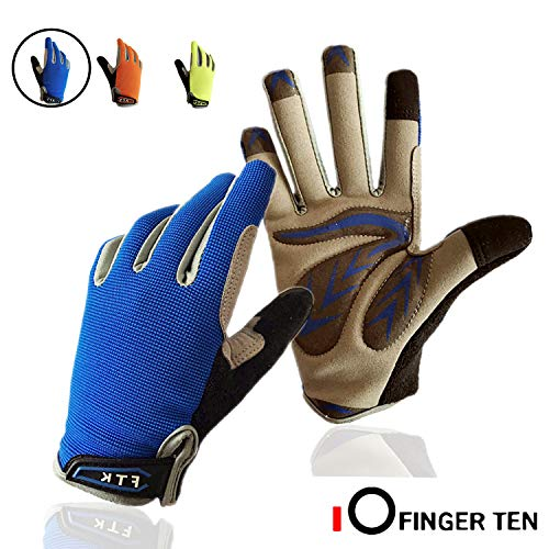 Cycling Gloves Kids Boys Girls Youth Full Finger Pair Bike Riding, Children Toddler Touch Screen Mountain Road Bicycle Warm Cold Weather Gel Padded, Color Blue Orange Age 2-11