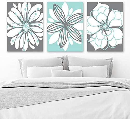 Amazon Com Blafitance Bathroom Decor Gray Aqua Bathroom Wall Art Dahlia Flower Canvas Or Prints Aqua Gray Floral Bedroom Wall Decor Set Of 3 Floral Home Decor Posters Prints
