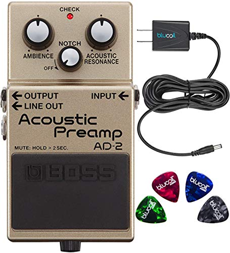 Boss AD-2 Acoustic Preamp Pedal Bundle with Blucoil Power Supply Slim AC/DC Adapter for 9 Volt DC 670mA and 4-Pack of Celluloid Guitar ()
