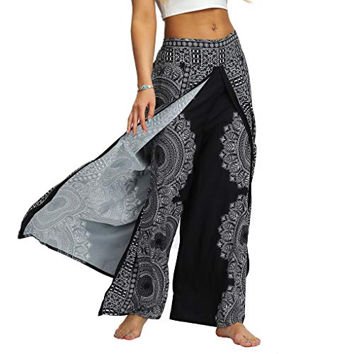 Lcoco&Dream Women's Wide Leg Boho Yoga Harem Pants Comfy Indian Thailand Bohemian Palazzo Pants (YEA011, L/XL)