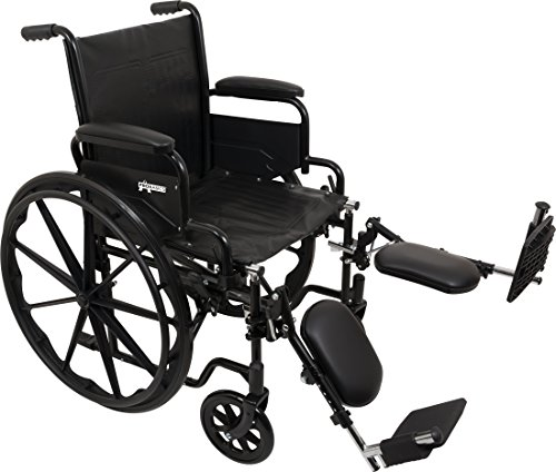 ProBasics Standard Wheelchair - Flip Back Desk Arms - 250 Pound Weight Capacity - Black - Elevating Leg Rest - 16