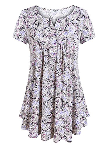 - Anna Smith Swing Tunic Top, Lady Flare Roomy Fitting Ruched Drape Simple Plain Shirts Short-Sleeved Slit V Collar Resilient Comfortable Chic Details Pullover Blouses Clothes Purple Large
