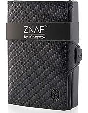 ZNAP Kreditkartenetui mit Geldklammer Aluminium und Münzfach - RFID Schutz - Slim Wallet Carbon - Kartenetui, Kreditkarten Etuis, Geldbörse - bis 12 Karten - Geld Clip von SLIMPURO