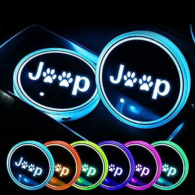 SUNPIE Car RGB LED Cup Holder Mats Lights for Jeep Wrangler JK Accessories Interior Decoration Atmosphere Lamp Coaster: Automotive