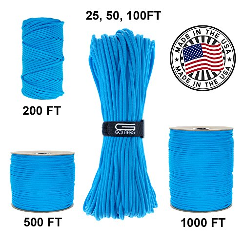 GOLBERG 750lb Paracord / Parachute Cord – US Military Grade – Authentic Mil-Spec Type IV 750 lb Tensile Strength Strong Paracord – Mil-C-5040-H – 100% Nylon – Made in USA ()