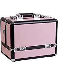 Craft Accents 3-Tiers Accordion Trays Makeup Cosmetic Case, Pink, 112 Ounce