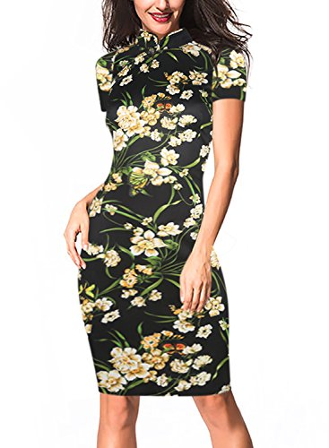 - oxiuly Women's Vintage Floral Flare Stretch Stand Collar Work Pencil Dress OX183 (L, Black)