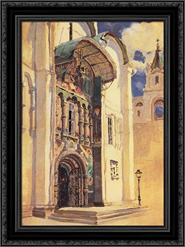 (The Uspensky Cathedral. South Gates 20x24 Black Ornate Wood Framed Canvas Art by Polenov,)