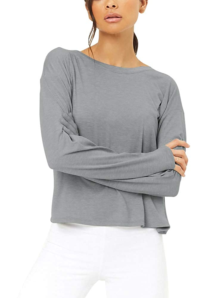 Bestisun Long Sleeve Workout Clothes Yoga Tops Cute Activewear Backless Shirts for Women