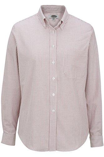 5077 Stripe - Ladies' Long Sleeve Oxford Shirt 5077 3XL Burgundy Stripe by Edwards for Elliesox