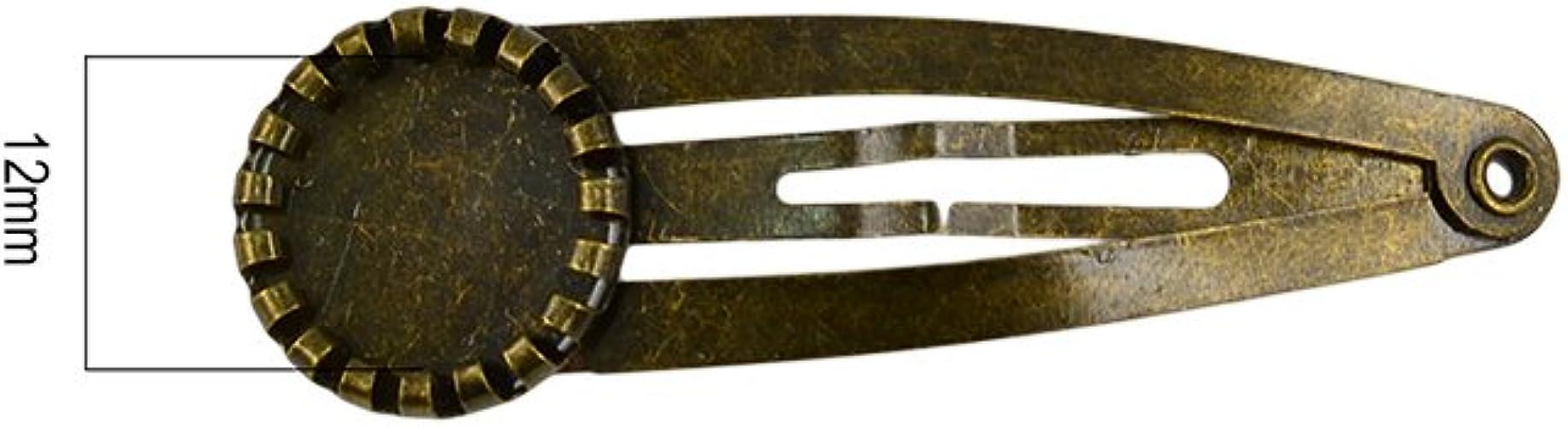 MagiDeal 10x Barrette Snap Pince /à Cheveux 12mm Rond Fleur Bezel Snap Clip Antique Bronze