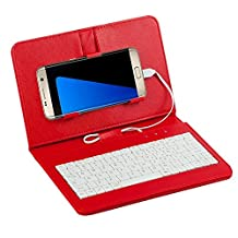 Efanr® Universal Wired Keyboard Flip Holster Case Cover For Samsung Galaxy Note 5 4 3 2 S7 S6 S5 S4 S3 HTC M9 M8 One plus One and other 4.2''-6.5'' Andriod Mobile Cell Phones With OTG (Red)