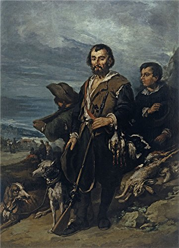 'Lucas Velazquez Eugenio El Cazador Segundo Tercio Del 19 Century ' Oil Painting, 16 X 22 Inch / 41 X 56 Cm ,printed On Perfect Effect Canvas ,this Amazing Art Decorative Prints On Canvas Is Perfectly Suitalbe For Wall Art Decoration And Home Decoration And Gifts - Lighting Wall Trio