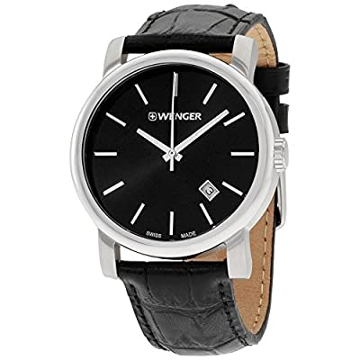 Wenger Urban Vintage Black Dial Leather Strap Men's Watch 011041139 from Wenger