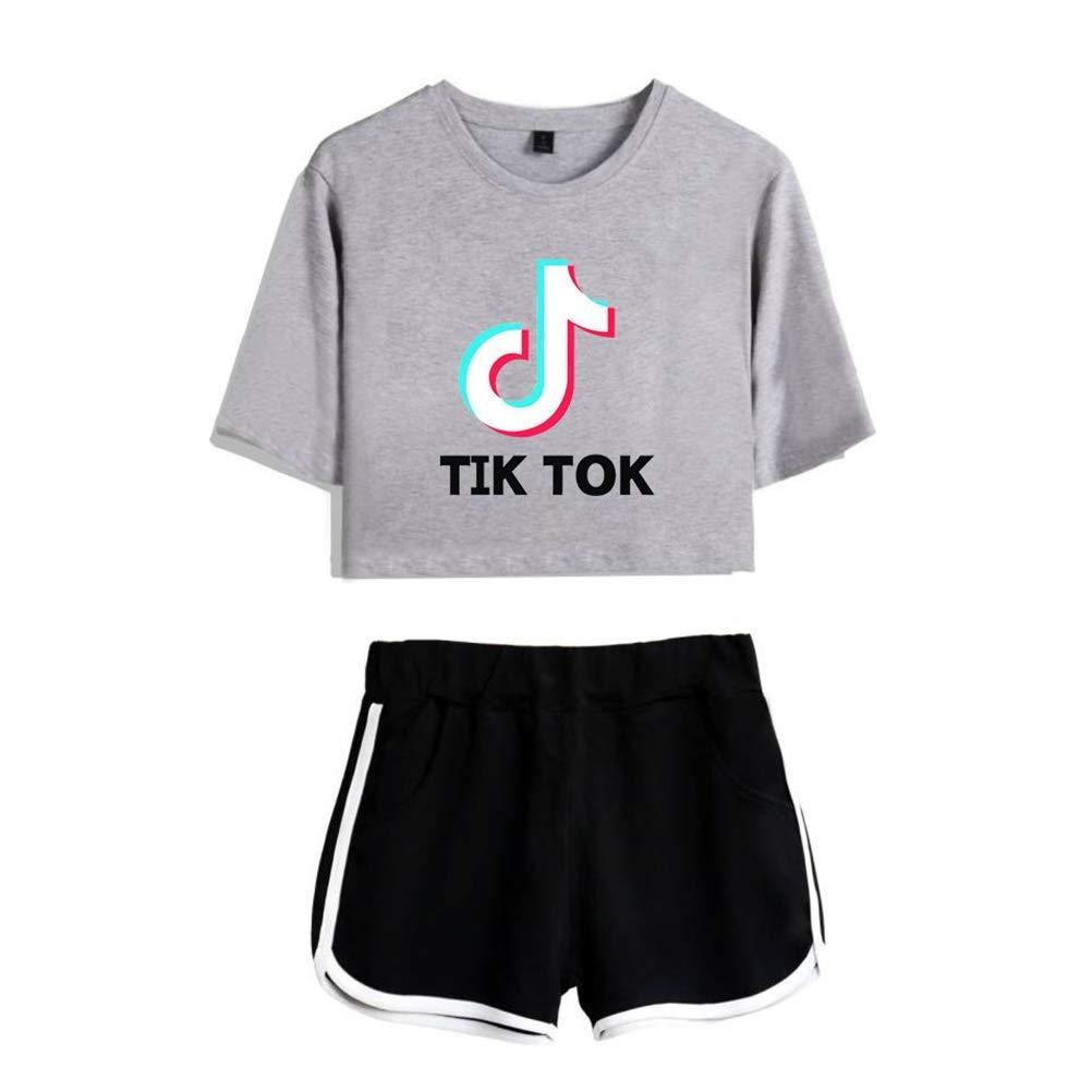 Yezelend Donna e da Bambine e Ragazze TIK Tok Crop Top Maglietta e Shorts Abbigliamento da Due Pezzi per Abbigliamento Sportivo