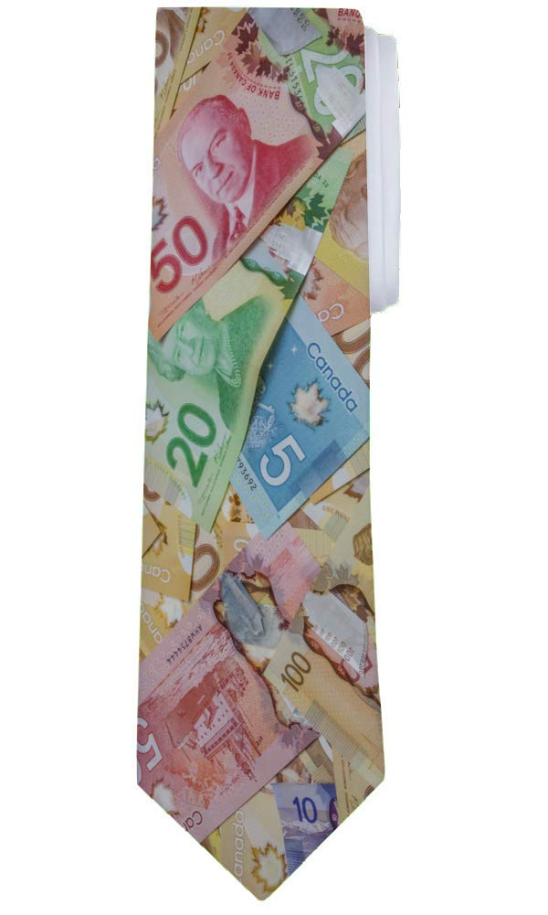 Fantasy Socks Funny Canadian Money Cash Necktie Tie 3.75 Satin