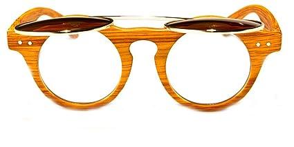 38162111ab Amazon.com  Round Flip Up Men Wood Print Women Django Sunglasses (Blue)   Clothing