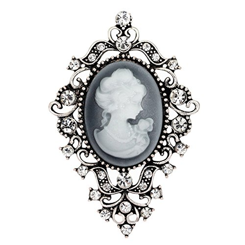 Brooch Cameo Vintage Pin (Ever Cute Women Cameo Brooches Vintage Floral Lapel Pins Suit Jewelry Accessories-Antique Silver)
