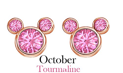 October Birthstone Tourmaline Mickey Mouse Stud Earrings In 14k Rose God Over Sterling Silver October Birthstone Tourmaline