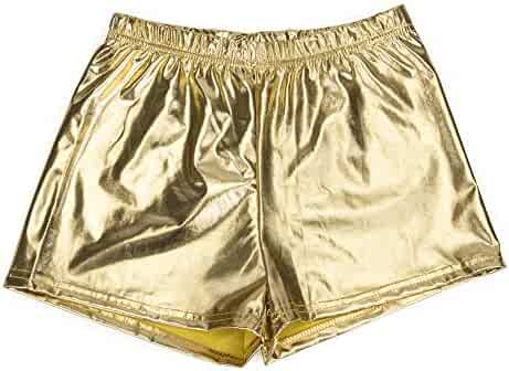 082509c0a091c Women Yoga Hot Shorts Shiny Metallic Pants Solid Dance Shorts PU Cheer  Shorts