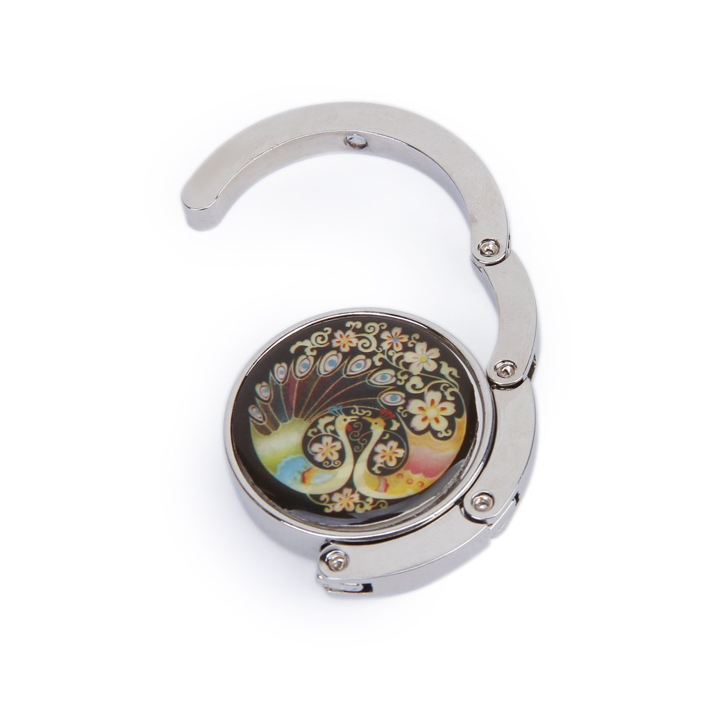 Topways/® Handbag Folding Hook Pfau Muster Falten Handtaschen Haken Aufh/änger Beutel Halter
