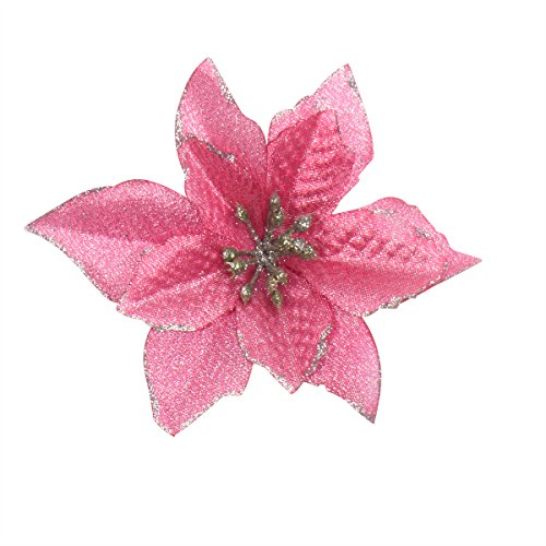 6pcs 5 inch glitter artificial wedding christmas flowers xmas tree wreaths decor ornament pink - Pink Christmas Decorations