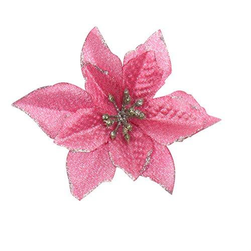 6Pcs 5 Inch Glitter Artificial Wedding Christmas Flowers XMAS Tree Wreaths Decor Ornament Pink