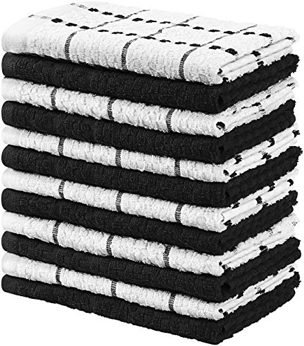 Utopia Towels Kitchen Towels, 15 x 25 Inches, 100% Ring Spun Cotton Super Soft and Absorbent Grey Dish Towels, Tea Towels and Bar Towels, (Pack of 12)